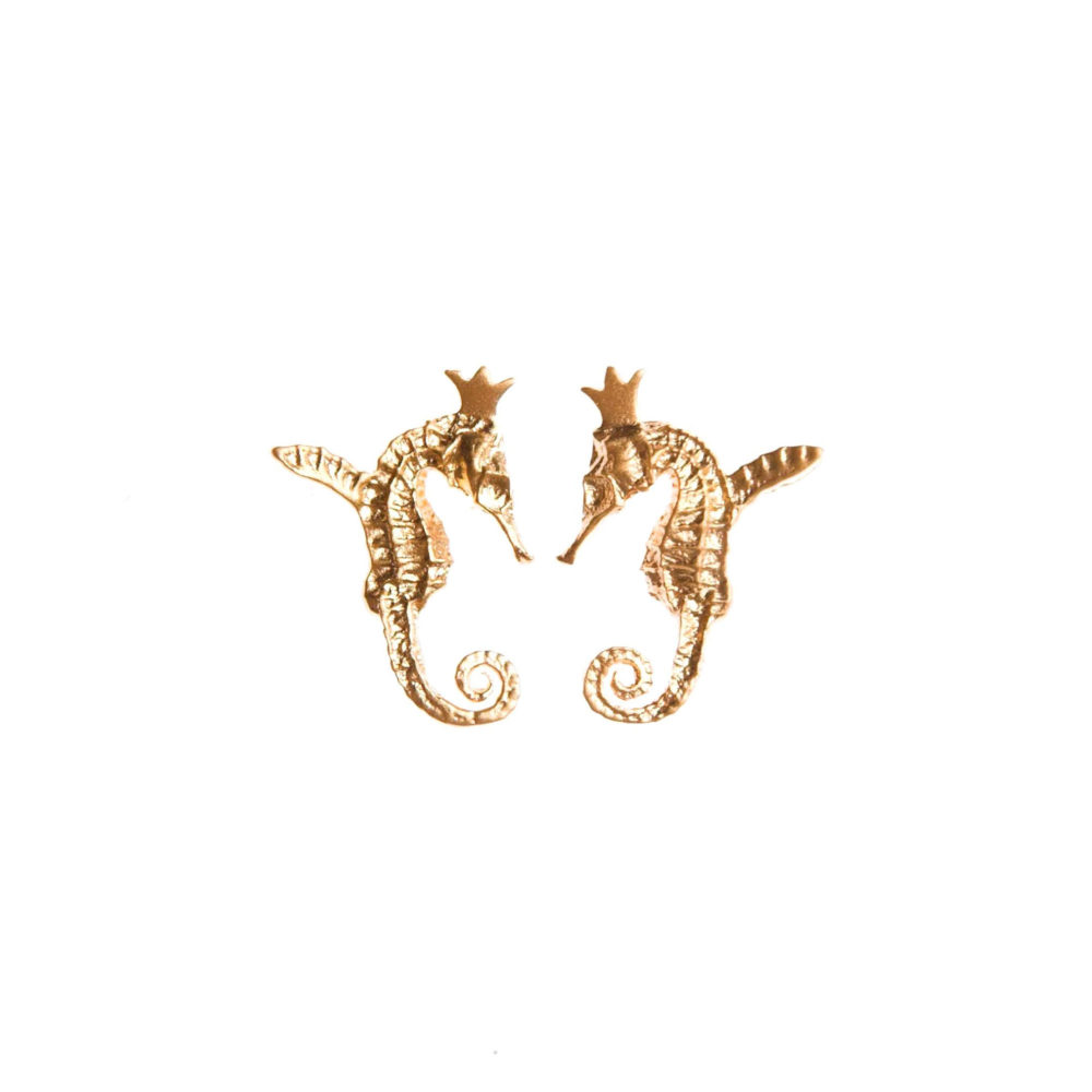 Hippocamp Earrings Gold 1 Hippo Couture Earrings Tanel Veenre Jewellery