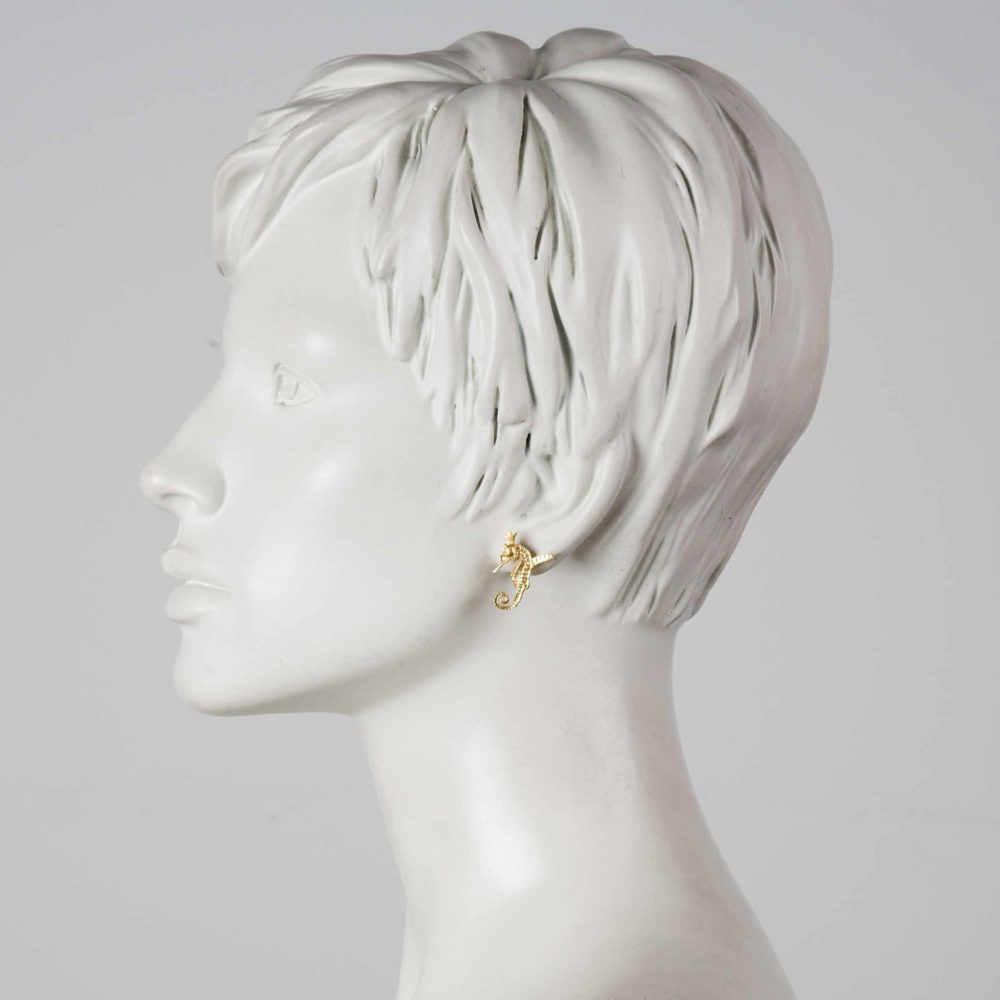 Hippocamp Earrings Gold 2 Hippo Couture Earrings Tanel Veenre Jewellery